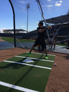 Billy Burns takes batting practice. The Sounds outfielder is one of the fastest players in baseball. (Oakland Athletics)